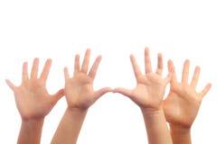 Vier Hände Stockfoto