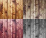 Vier hölzerne Hintergründe Stockfoto