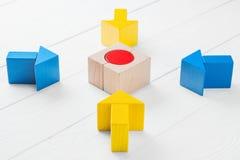 Vier hölzerne Pfeile laufen in Richtung zum Mittelziel zusammen Lizenzfreie Stockfotografie