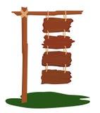 Vier hölzerne Zeichen, die zusammen hängen Lizenzfreie Stockbilder