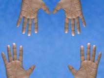 Vier Handen Royalty-vrije Stock Afbeeldingen