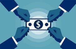 Vier Handen die aan het symbool van het de dollarteken van het contant geldpapiergeld bereiken Zaken en rijkdomconcept vector illustratie