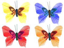 Vier handgemachte bunte buterflies Stockfotografie