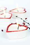Vier hart-vormige kaarsen Royalty-vrije Stock Afbeelding