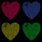 Vier harten online liefde Stock Foto