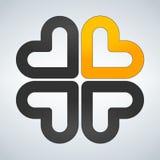Vier harten sociaal symbool Hart dwarslogotype Abstract bloemblad Royalty-vrije Stock Afbeeldingen