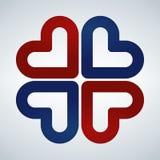 Vier harten sociaal symbool Rood en blauw Hart dwarslogotype Abstract bloemblad Stock Foto's