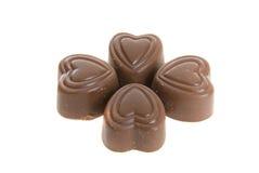 Vier Harten van de Chocolade Royalty-vrije Stock Foto's