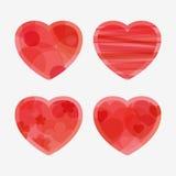 Vier harten voor de Dag van de Valentijnskaart Stock Foto's