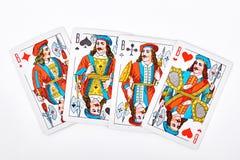 Vier hefbomen van speelkaarten stock afbeeldingen