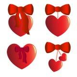 Vier Herzcharme mit Bögen vektor abbildung