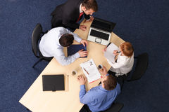 Vier het bedrijfsmensen samenkomen Stock Foto