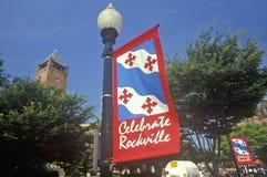 Vier het Teken van Rockville, Rockville, Maryland Stock Foto