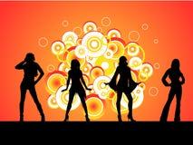Vier Hete Meisjes Stock Foto