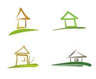 Vier huizensymbolen stock illustratie