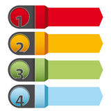 Vier infographic Pfeile der Schritte Stockbilder
