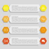 Vier informatie-grafiek malplaatjes van banners Stock Fotografie