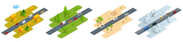 Vier isometrische Bilder Straße mit Autos im Herbst, im Sommer, in einer Straße in der Wüste und in der Straße im Winter lizenzfreie abbildung