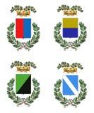 Vier Italiaanse wapenkundeschilden Royalty-vrije Stock Afbeeldingen
