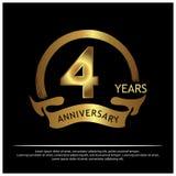 Vier Jahre Jahrestag golden Jahrestagsschablonenentwurf für Netz, Spiel, kreatives Plakat, Broschüre, Broschüre, Flieger, Zeitsch stock abbildung