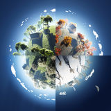 Vier Jahreszeiten auf kleinem Planeten lizenzfreie abbildung