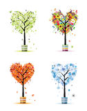 Vier Jahreszeiten - Frühling, Sommer, Herbst, Winterbaum Stockfotos