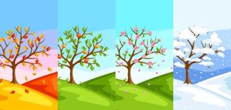 Vier Jahreszeiten Illustration des Baums und der Landschaft im Winter, Frühling, Sommer, Herbst vektor abbildung