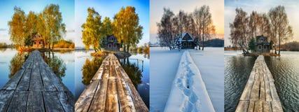 Vier Jahreszeiten malerisches kleines Haus auf einer kleinen Insel Lizenzfreie Stockbilder