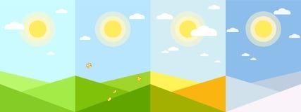 Vier Jahreszeiten tapezieren geometrische Landschaft des Anwendungsfrühlingssommerherbstwintersaison-Hintergrundes für Appfahnenk lizenzfreie abbildung