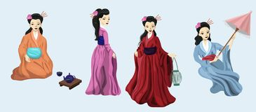 Vier japanische Mädchen im nationalen Kostümvektorbild lizenzfreie abbildung