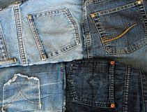 Vier Jeans pokets Stockfotos