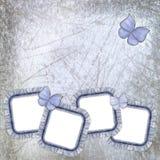 Vier jeansframes met kant en batterfly Stock Afbeelding