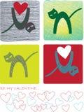 Vier kaarten van de kleurenvalentijnskaart met katten en harten vector illustratie