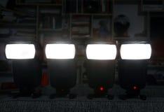 Vier Kamerablitze Stockfotos