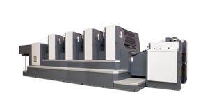 Vier-Kapitel Versatz gedruckte Maschine über Weiß Stockfotos