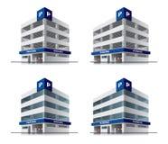 Vier Karikaturautoparkvektorgebäude Stockbilder