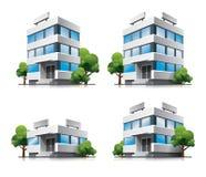 Vier Karikaturbüro-vektorgebäude mit Bäumen. Stockfoto