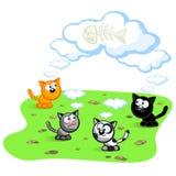 Vier Katzen lizenzfreie abbildung