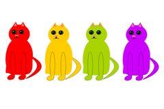 Vier Katzen in den verschiedenen Farben lizenzfreie abbildung