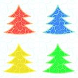 Vier Kerstmis vectorbomen Stock Afbeeldingen
