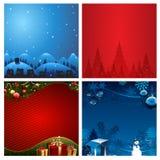 Vier Kerstmis vectorillustratie Als achtergrond Stock Foto's