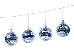 Vier Kerstmisballen Stock Foto's