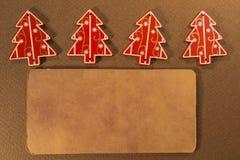 Vier Kerstmisdecoratie met tekstvakje Stock Fotografie