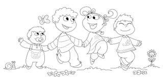 Vier Kinder BW Stockfotografie
