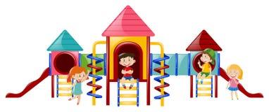 Vier Kinder am playstation Lizenzfreie Stockfotos