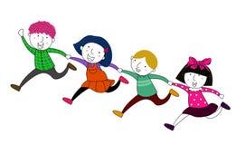 Vier kinderen het lopen Stock Foto