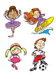 Vier kinderenkarakters Stock Afbeeldingen