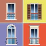 Vier klassieke Franse balkons Stock Foto