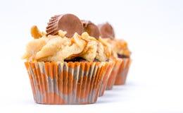 Vier kleine Kuchen mit Mani Stockbild