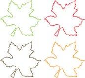 Vier Kleuren van Bladeren Stock Foto's